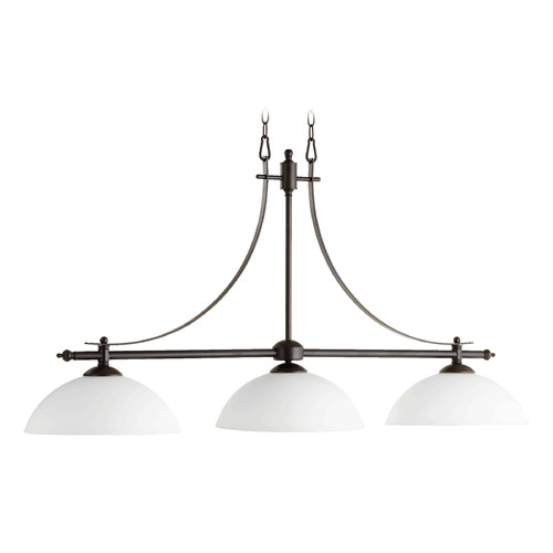 Quorum Lighting Quorum Lighting Aspen Oiled Bronze Island Light with Bowl / Dome Shade 6577-3-186