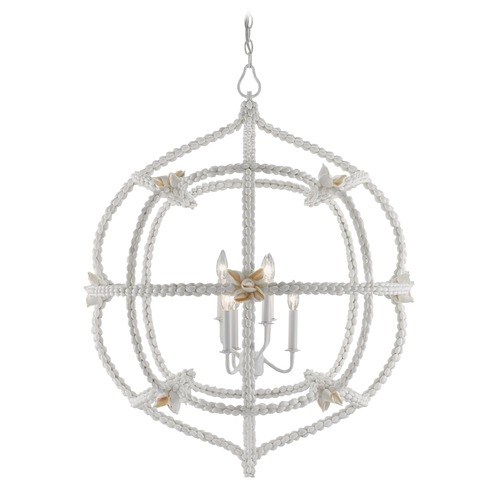 Currey and Company Lighting Currey and Company Seaforth Gesso White / Natural Pendant Light 9000-0027