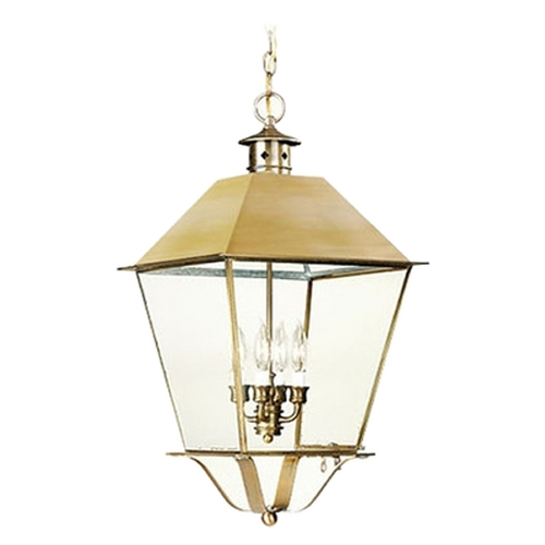 Troy Lighting Outdoor Hanging Light with Clear Glass in Natural Aged Brass Finish F9142NAB