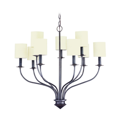 Hudson Valley Lighting Modern Chandelier with White Shades in Old Bronze Finish 7219-OB