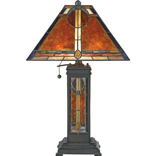 Quoizel Lighting Table Lamp with Tiffany Glass in Valiant Bronze Finish NX615TVA