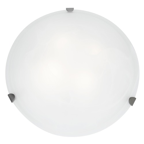 Access Lighting Modern Flushmount Light with White Glass in Brushed Steel Finish 23021GU-BS/WH