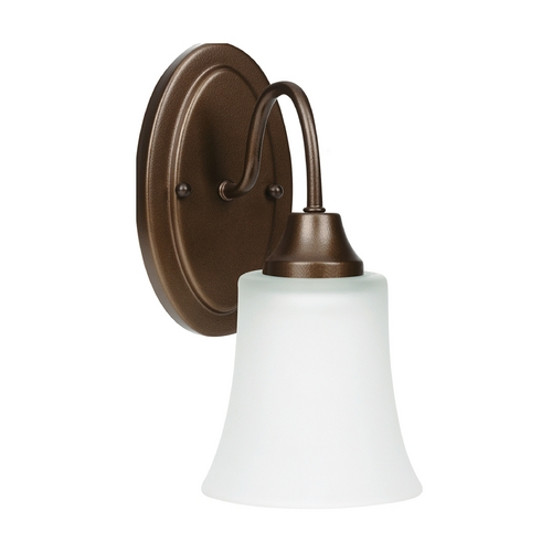 Sea Gull Lighting Sconce Wall Light with White Glass in Bell Metal Bronze Finish 49806BLE-827