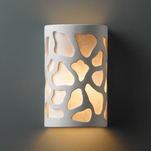 Justice Design Group Sconce Wall Light with White in Bisque Finish CER-7445-BIS