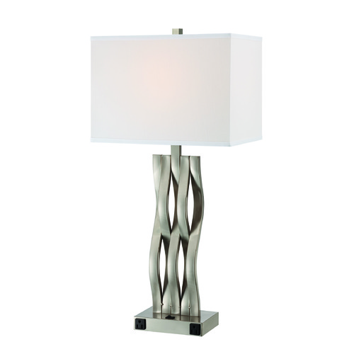 Lite Source Lighting Lite Source Hamo Ii Polished Steel Table Lamp with Rectangle Shade LS-22075OTL