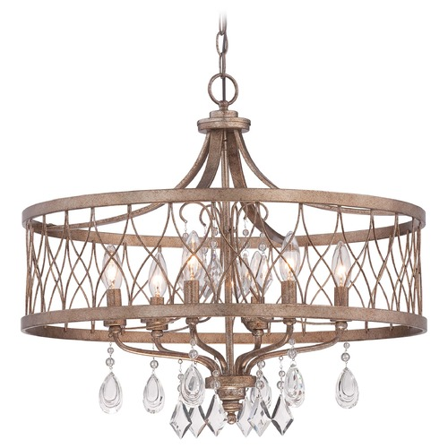 Minka Lavery Minka West Liberty Olympus Gold Pendant Light with Drum Shade 4406-581