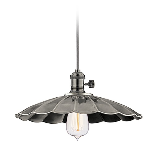 Hudson Valley Lighting Hudson Valley Lighting Heirloom Historic Nickel Pendant Light with Scalloped Shade 8001-HN-MS3
