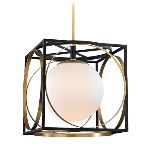 Hudson Valley Lighting Hudson Valley Lighting Wadsworth Aged Brass Pendant Light with Globe Shade 5818-AGB