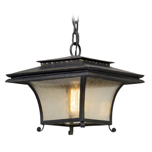 Troy Lighting Seeded Glass Outdoor Hanging Light Iron Troy Lighting F5147