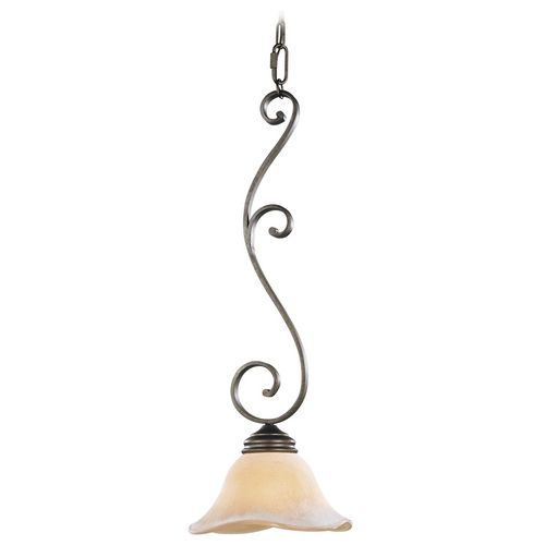 Feiss Lighting Mini-Pendant Light with Beige / Cream Glass P1071CB