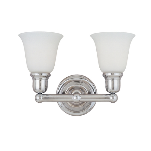 Maxim Lighting Bathroom Light with White Glass in Polished Chrome Finish 11087WTPC