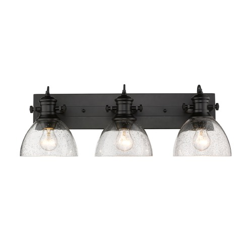 Golden Lighting Hines 3 Light Bath Vanity in Black with Seeded Glass 3118-BA3BLK-SD