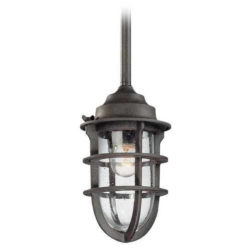 Troy Lighting Seeded Glass Outdoor Hanging Light Nautical Rust Troy Lighting F1860NR