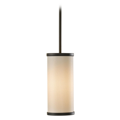 Feiss Lighting Modern Mini-Pendant Light with Beige / Cream Shade P1201ORB