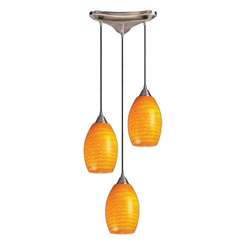 Elk Lighting Modern Multi-Light Pendant Light with Yellow Glass and 3-Lights 517-3CN