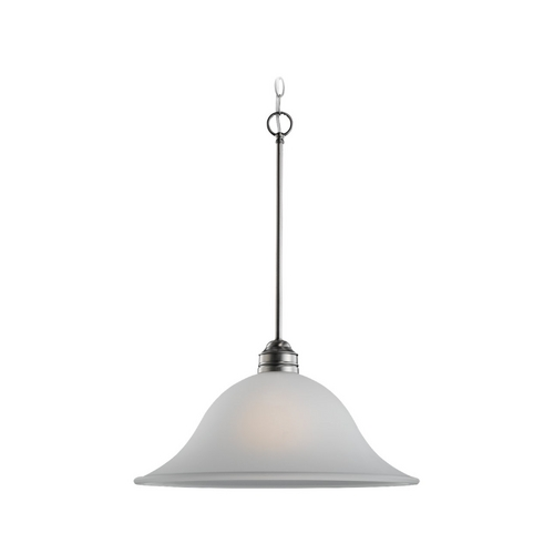 Sea Gull Lighting Pendant Light with White Glass in Antique Brushed Nickel Finish 65850-965