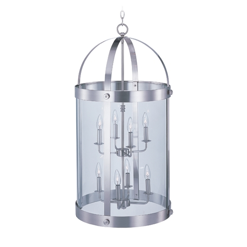 Maxim Lighting Pendant Light with Clear Glass in Satin Nickel Finish 21556CLSN