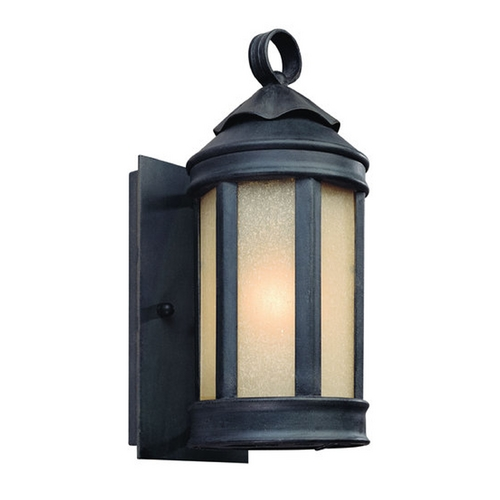 Troy Lighting Outdoor Wall Light with Beige / Cream Glass in Aged Iron Finish BF1460AI
