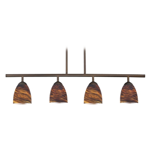 Design Classics Lighting Modern Island Light with Brown Glass in Neuvelle Bronze Finish 718-220 GL1023MB