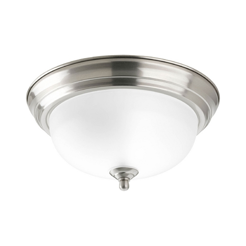 Progress Lighting Flushmount Light with White Glass in Brushed Nickel Finish P3924-09ET