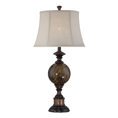Lite Source Lighting Table Lamp with Beige / Cream Shade in Antique Bronze Finish CF41294