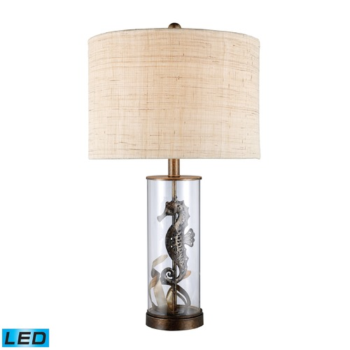 Dimond Lighting Dimond Lighting Bronze, Clear Glass LED Table Lamp with Drum Shade D1980-LED