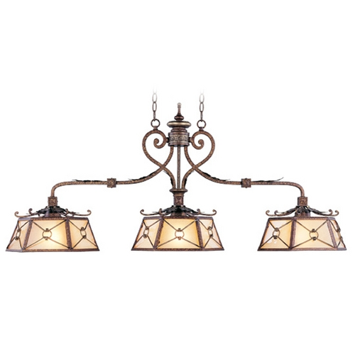 Livex Lighting Livex Lighting Bristol Manor Palacial Bronze with Gilded Accents Island Light with Hexagon Shade 8828-64