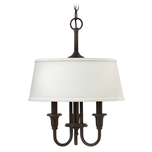 Hinkley Lighting Hinkley Lighting Webster Oil Rubbed Bronze Pendant Light with Drum Shade 3734OZ