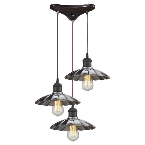 Elk Lighting Elk Lighting Corrine Oil Rubbed Bronze/chrome Multi-Light Pendant with Scalloped Shade 67042/3