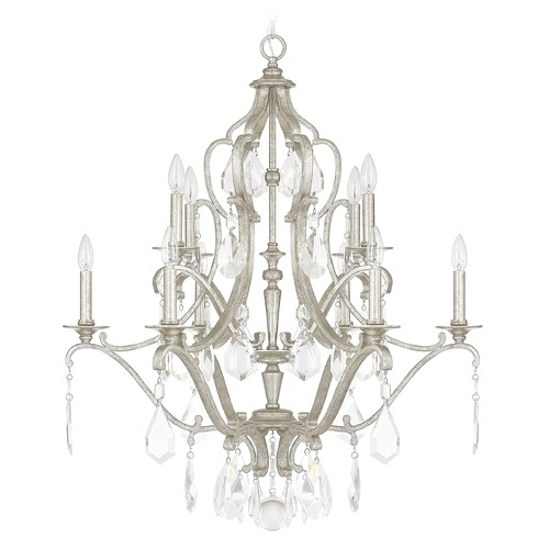 Capital Lighting Capital Lighting Blakely Antique Silver Crystal Chandelier 4180AS-CR