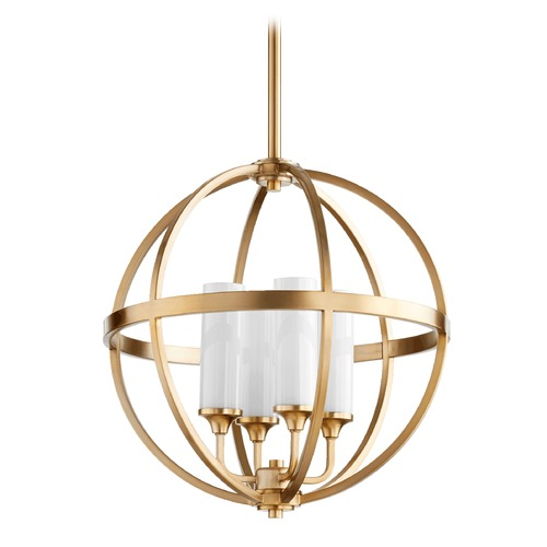 Quorum Lighting Quorum Lighting Highline Aged Brass Pendant Light with Conical Shade 662-4-80