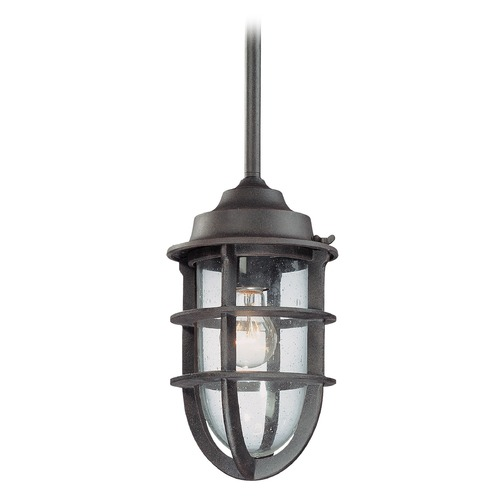 Troy Lighting Seeded Glass Outdoor Hanging Light Nautical Rust Troy Lighting F1862NR