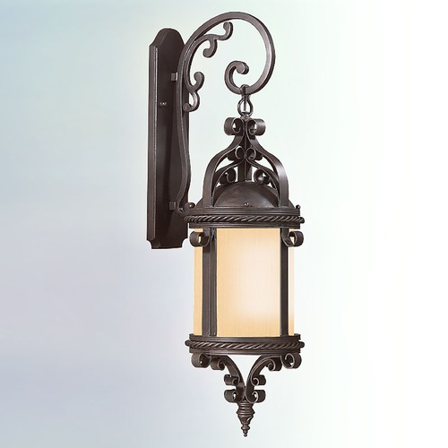 Troy Lighting Outdoor Wall Light with Amber Glass in Old Bronze Finish BF9122OBZ