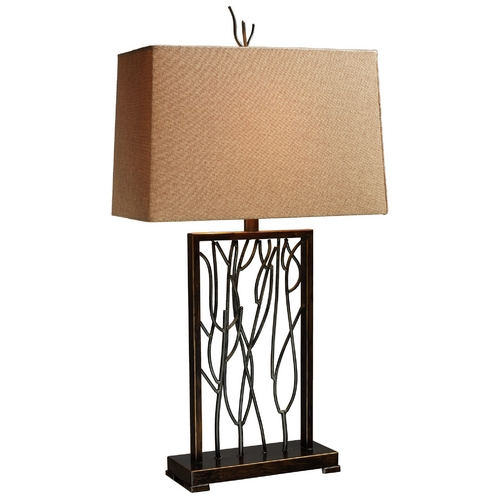 Elk Lighting Modern Table Lamp with Brown Shade in Aria Bronze and Iron Finish D1518