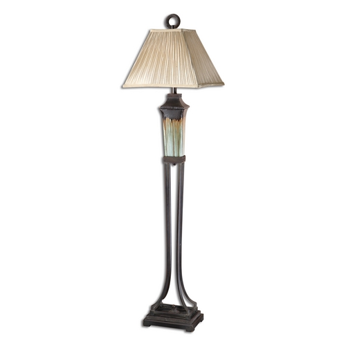 Uttermost Lighting Floor Lamp with Beige / Cream Shade in Light Green Finish 28545