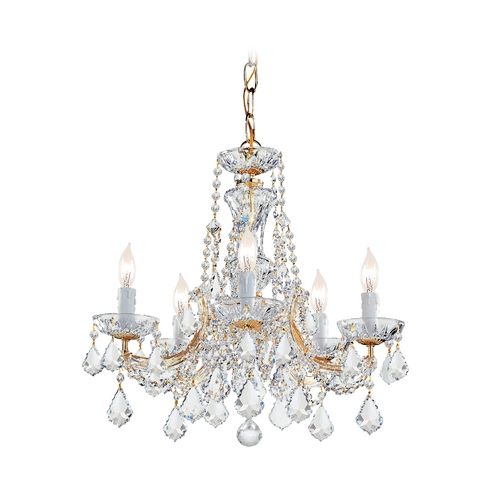Crystorama Lighting Crystal Mini-Chandelier in Gold Finish 4476-GD-CL-S