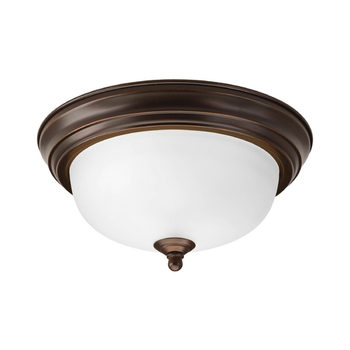 Progress Lighting Flushmount Light with White Glass in Antique Bronze Finish P3924-20ET