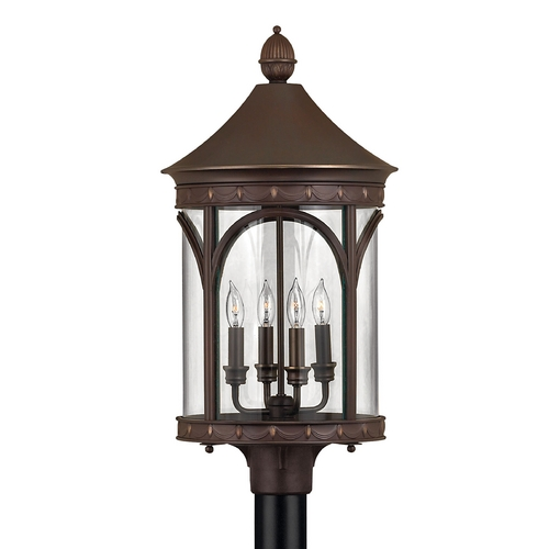 Hinkley Lighting LED Post Light with Clear Glass in Copper Bronze Finish 2311CB-LED