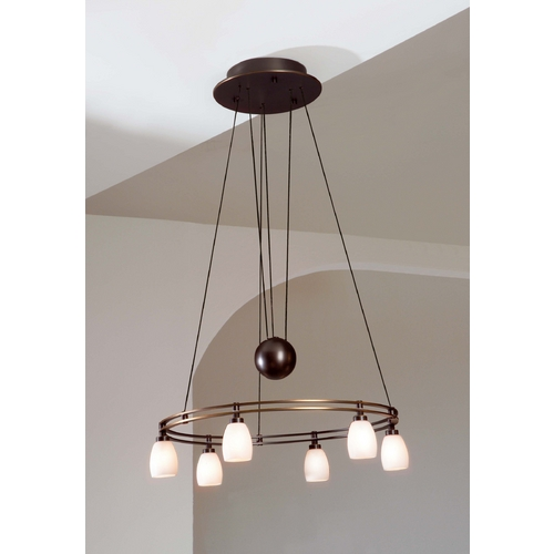 Holtkoetter Lighting Holtkoetter Modern Low Voltage Pendant Light with White Glass in Hand-Brushed Old Bronze Finish 5556 HBOB G5000