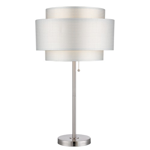 Lite Source Lighting Lite Source Sebille Polished Steel Table Lamp with Drum Shade LS-22305