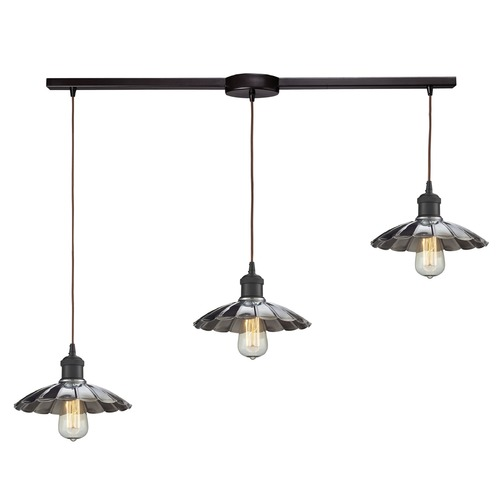 Elk Lighting Elk Lighting Corrine Oil Rubbed Bronze/chrome Multi-Light Pendant with Scalloped Shade 67042/3L