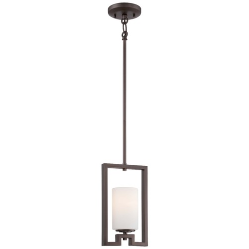 Minka Lavery Minka Morlaix Harvard Court Bronze Mini-Pendant Light with Cylindrical Shade 4411-281