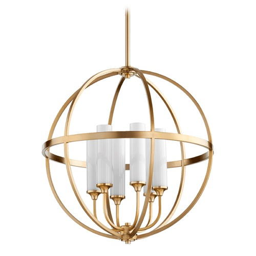 Quorum Lighting Quorum Lighting Highline Aged Brass Pendant Light with Conical Shade 662-6-80