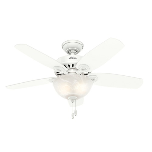 Hunter Fan Company 42-Inch Hunter Fan Builder Small Room Ceiling Fan with Light - Snow White Finish 52217