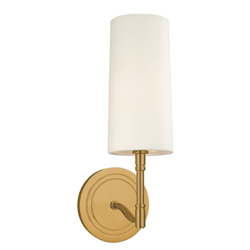 Hudson Valley Lighting Modern Sconce Wall Light with White Shade in Aged Brass Finish 361-AGB