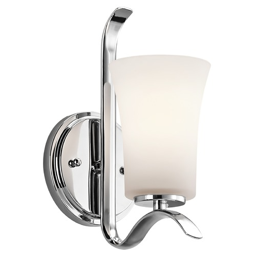 Kichler Lighting Kichler Sconce Wall Light with White Glass in Chrome Finish 45374CH