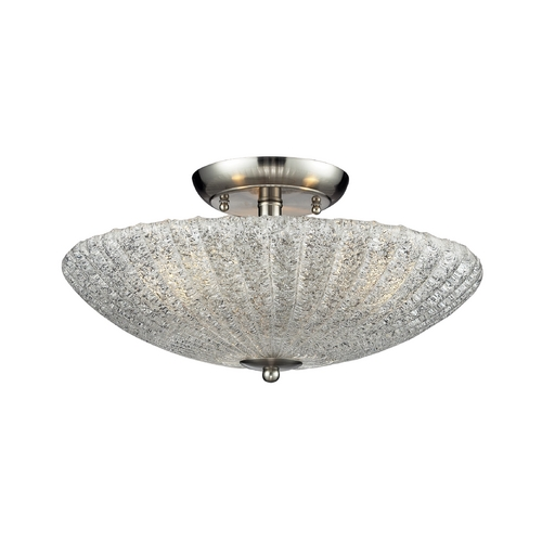 Elk Lighting Modern Semi-Flushmount Light with White Glass in Satin Nickel Finish 10271/3