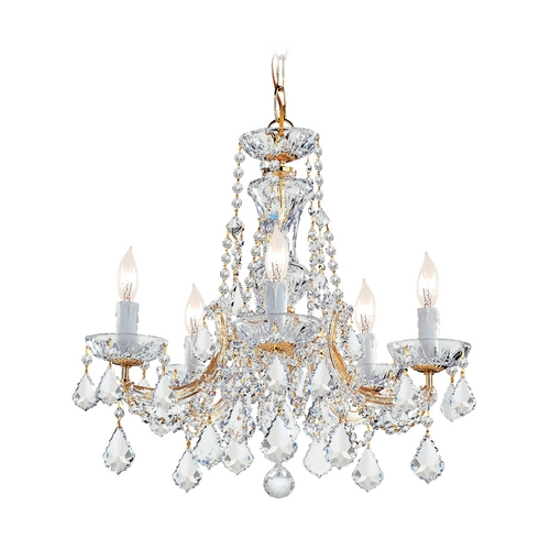 Crystorama Lighting Crystal Mini-Chandelier in Gold Finish 4476-GD-CL-SAQ