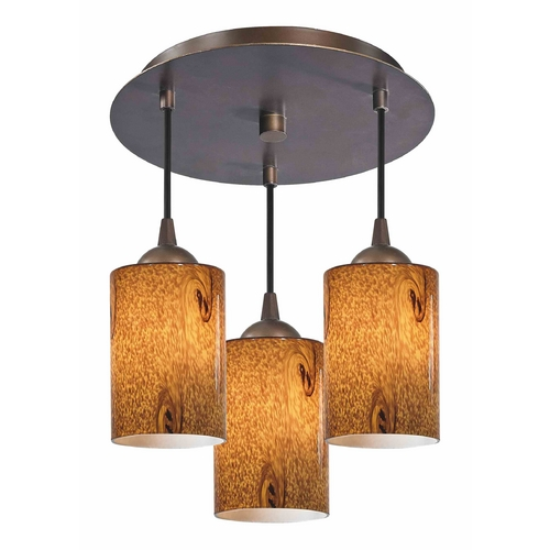 Design Classics Lighting 3-Light Semi-Flush Ceiling Light with Brown Art Glass - Bronze Finish 579-220 GL1001C