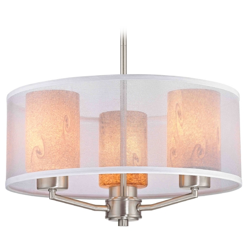 Design Classics Lighting Palatine Fuse Art Glass Satin Nickel Pendant Light with Cylinder Glass 1723-09 GL1001C